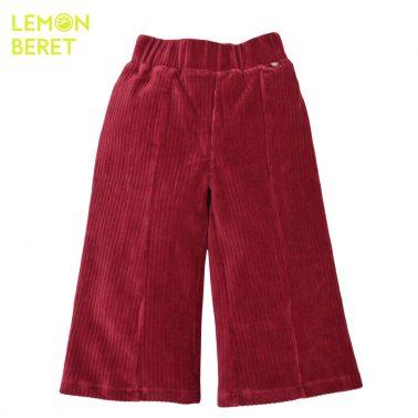 Панталон с широки крачоли от кадифе в бордо
