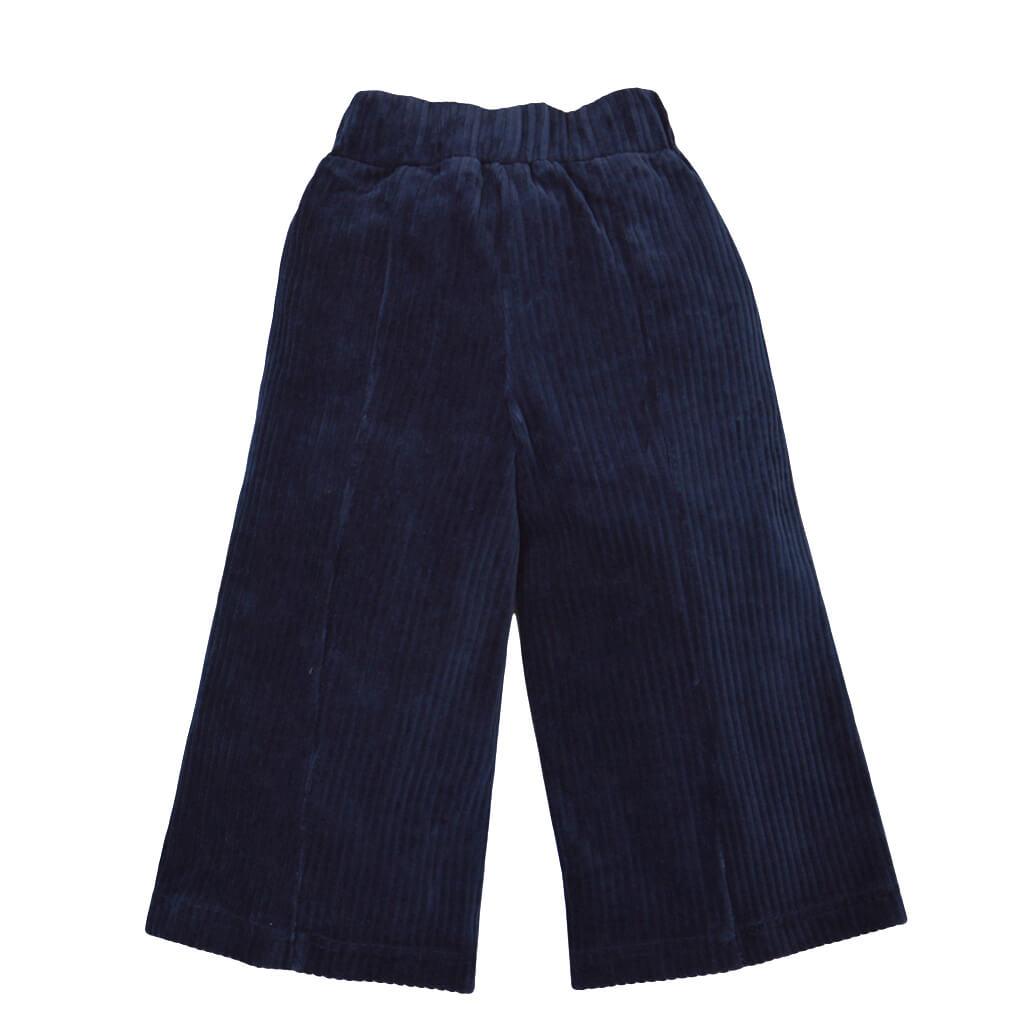 Панталон с широки крачоли от кадифе в тъмно синьо