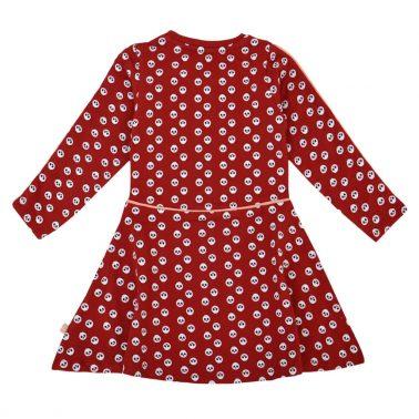 Детска рокля от био памук с панди в бордо
