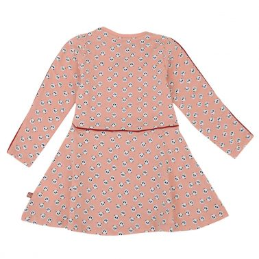 Детска рокля от био памук с панди в розово