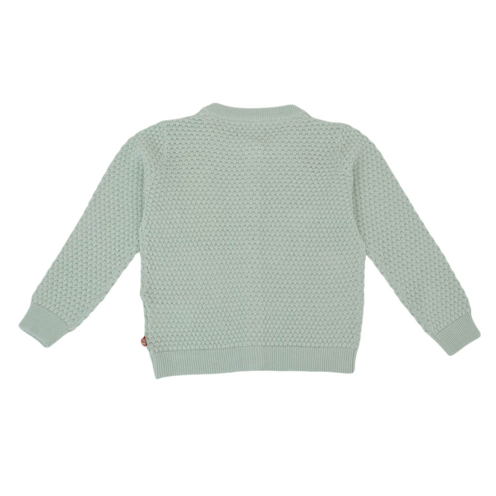 Детски пуловер с релефна плетка и цветни сърца зелен