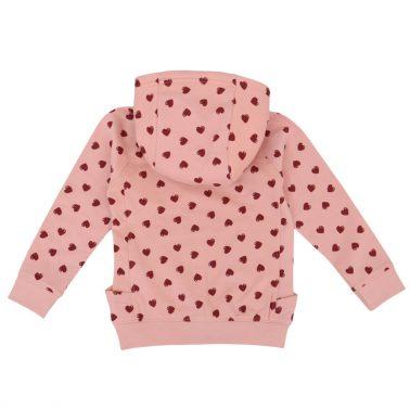 Детски суитшърт на сърца с качулка с каракул в розово