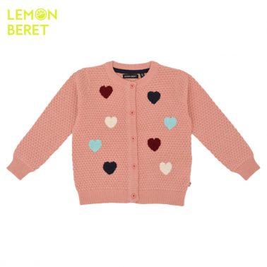 Детска жилетка с цветни пухкави сърца в розово