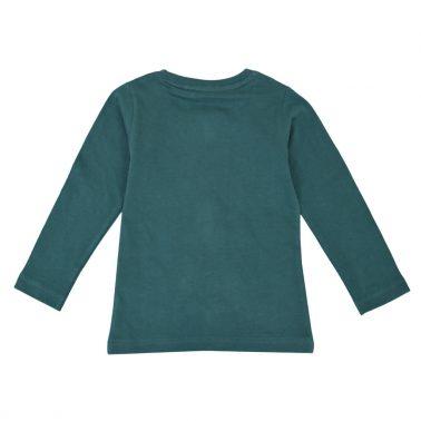 Детска блуза от био памук с апликация с палатка в зелено
