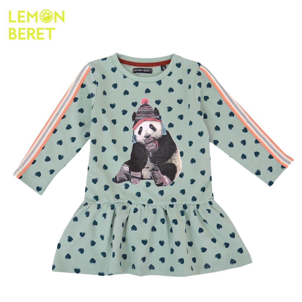 Ватирана детска рокля с дълги ръкави на сърца с панда в зелено