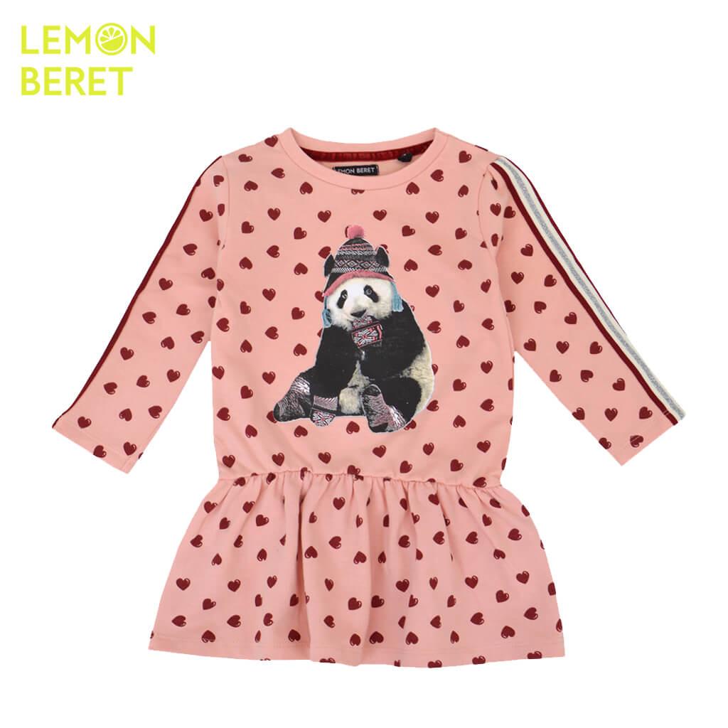 Ватирана детска рокля с дълги ръкави на сърца с панда в розово