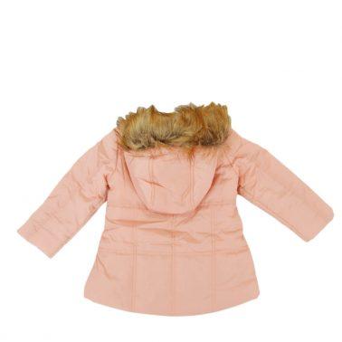 Зимно детско непромокаемо яке с качулка с пух в розово