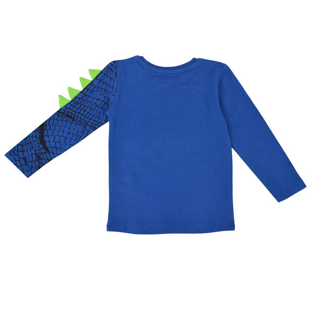 Ефектна детска блуза с динозвър в синьо