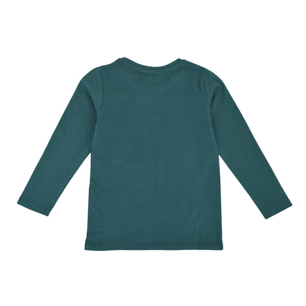 Детска блуза от био памук с динозавър и джобче в зелен цвят