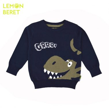Детски памучен пуловер с динозавър цвят каки