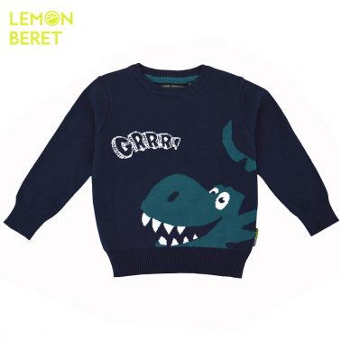 Детски памучен пуловер с динозавър в зелен цвят