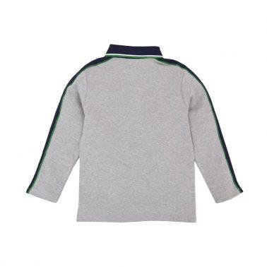 Детска блуза с яка тип лакоста сива