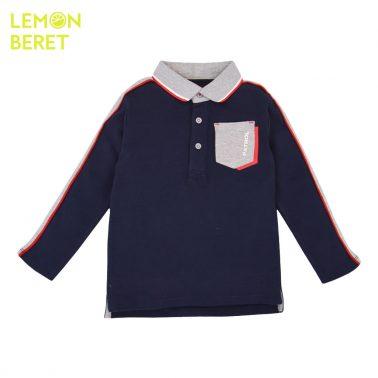 Детска блуза с яка тип лакоста тъмно синя