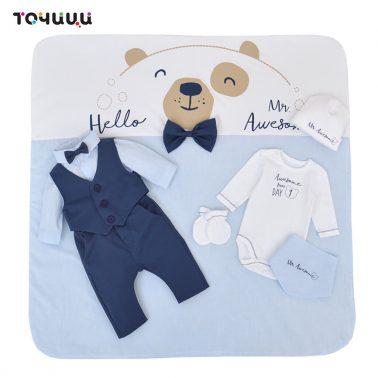 Зимен луксозен бебешки комплект за изписване  дебела вата от 9 части в синьо