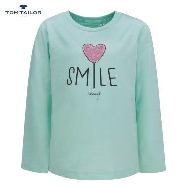 Фина детска блуза с дълги ръкави и щампа с блестящо сърце в зелено