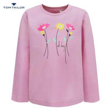 Фина детска блуза с дълги ръкави и щампа с цветя в розово