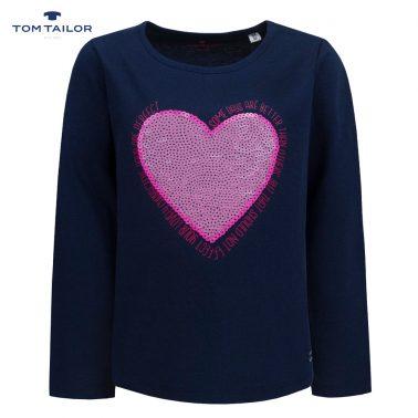 Фина детска блуза с дълги ръкави и сърце от пайети в синьо