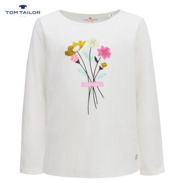 Елегантна фина детска блуза с дълги ръкави и апликация с цветя в бяло