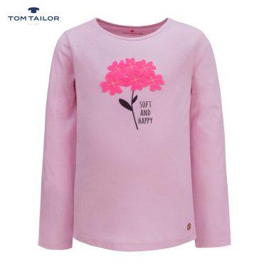 Блуза от фино трико с дълги ръкави с апликация с цветя в розово