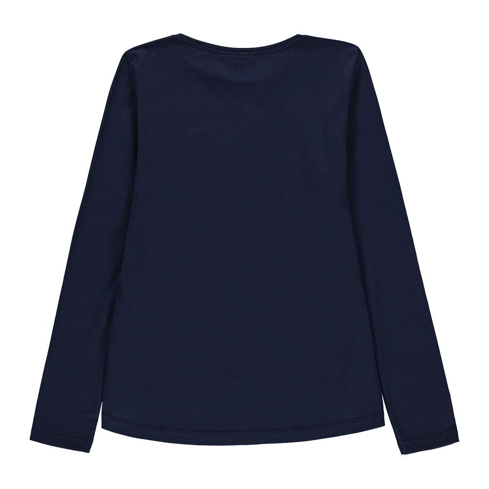 Детска блуза с дълги ръкави и надпис Let's Rock в синьо
