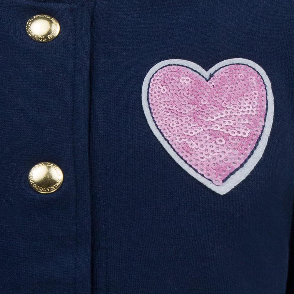 Детски ватиран суитшърт с копчета и сърце от пайети в синьо