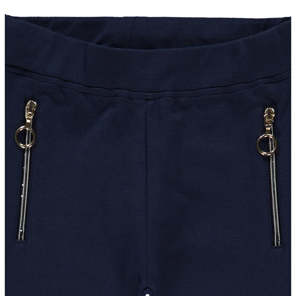 Детски едноцветен клин с джобове с цип в синьо