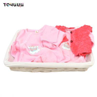 Подаръчен комплект от 3 части за бебе в панер бял