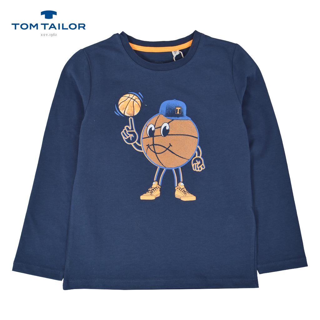 Детска памучна блуза с дълги ръкави с баскетболна щампа синя