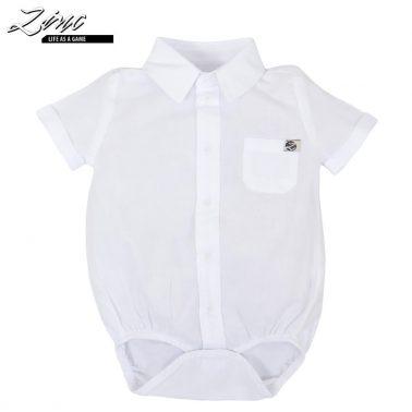 Бебешко боди риза с джоб и яка в бяло