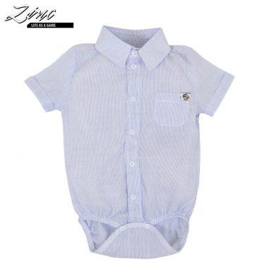 Бебешко боди риза с джоб и яка в синьо