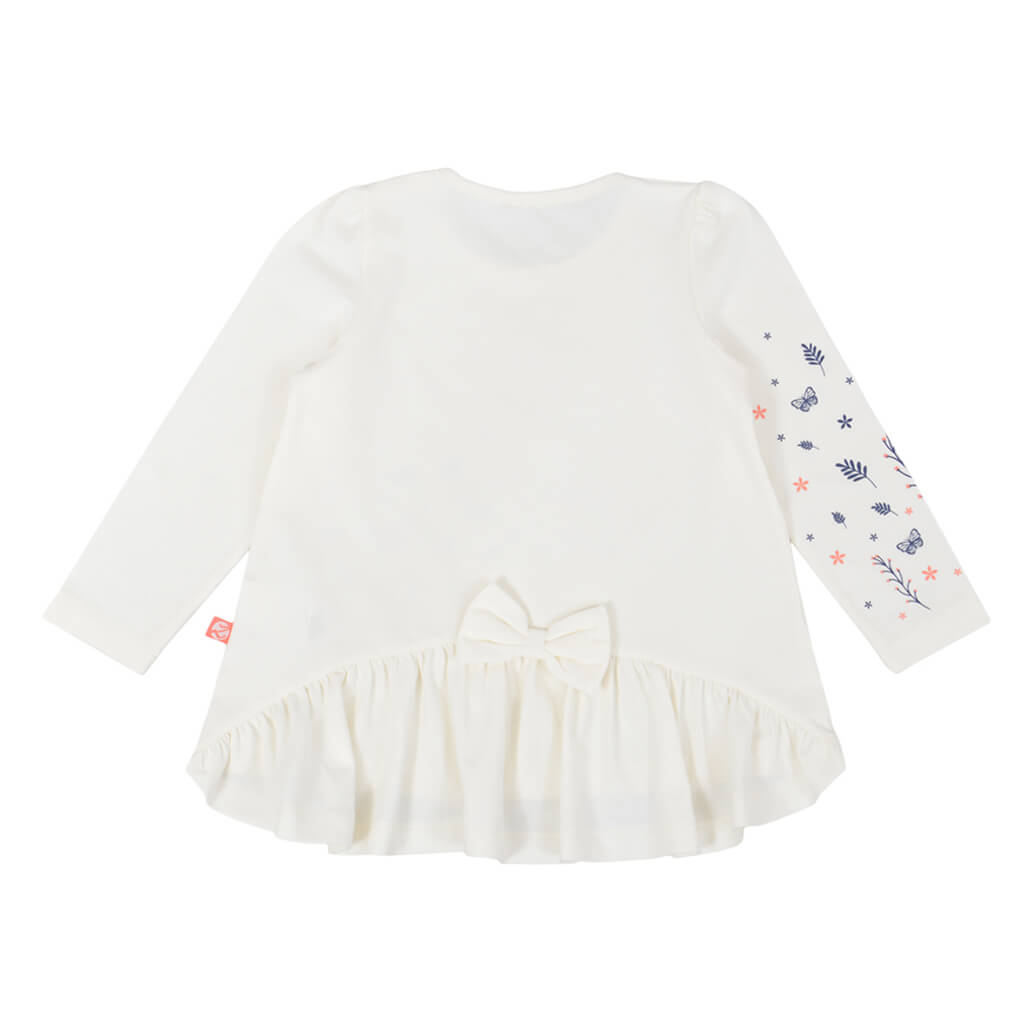 Детска блуза с дълги ръкави и щампа с пеперуди цвят праскова