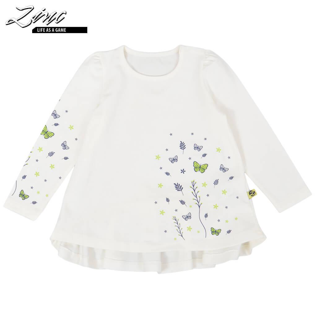 Детска блуза с дълги ръкави и щампа с пеперуди зелена