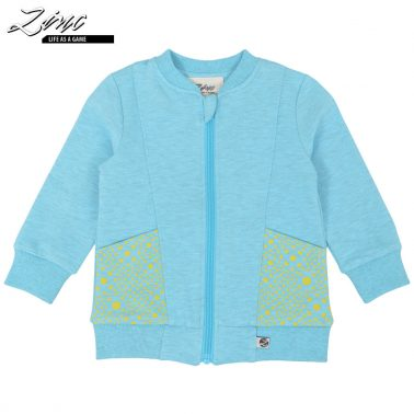 Детски суитшърт без качулка с джобчета в синьо
