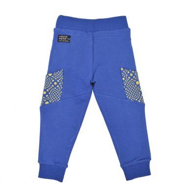 Детско долнище с джобове и щампа в синьо