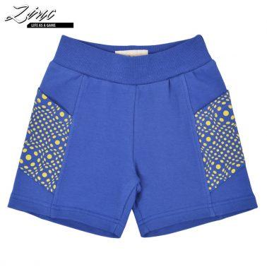 Къси памучни панталони с ластик цвят индиго
