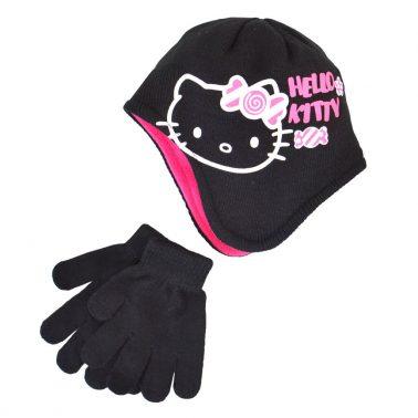 Комплект шапка ушанка и ръкавици Hello Kitty черен