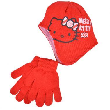 Комплект шапка ушанка и ръкавици Hello Kitty червен