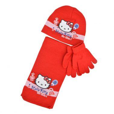 Комплект от 3 части - шапка, шал и ръкавици с Hello Kitty в червено