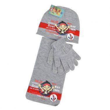 Комплект от 3 части шапка, шал и ръкавици Sailor светло сив