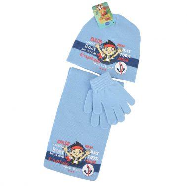 Комплект от 3 части шапка, шал и ръкавици Sailor светло син