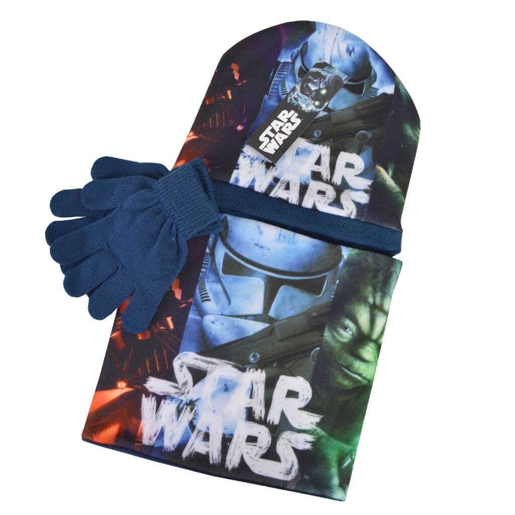 Комплект шапка и ръкавици със Star Wars син