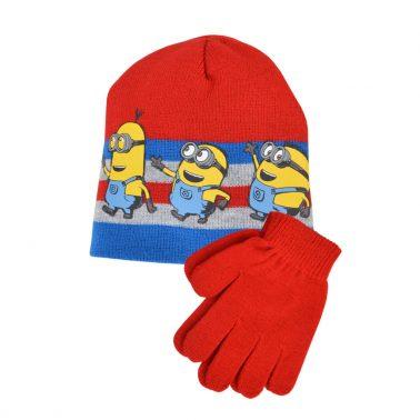 Комплект шапка и ръкавици с Миньоните в червено