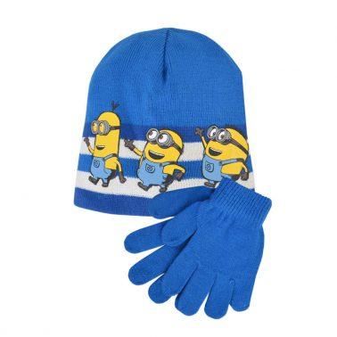 Комплект шапка и ръкавици с Миньоните в синьо