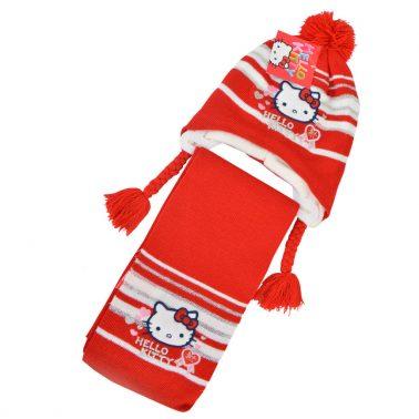 Комплект зимна шапка и шал с Hello Kitty червен