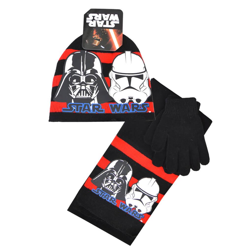 Комплект от 3 части - шапка, шал и ръкавици Star Wars в черно