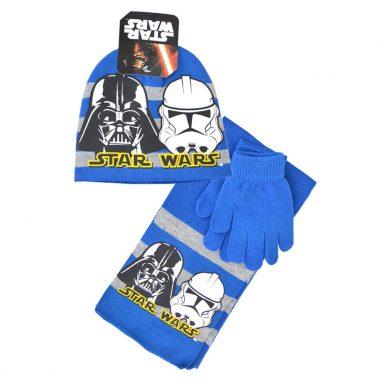 Комплект от 3 части - шапка, шал и ръкавици Star Wars в синьо