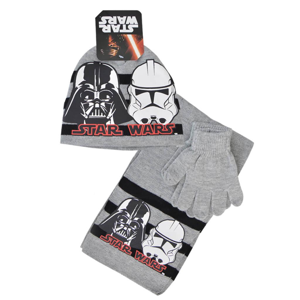 Комплект от 3 части - шапка, шал и ръкавици Star Wars в светло сиво