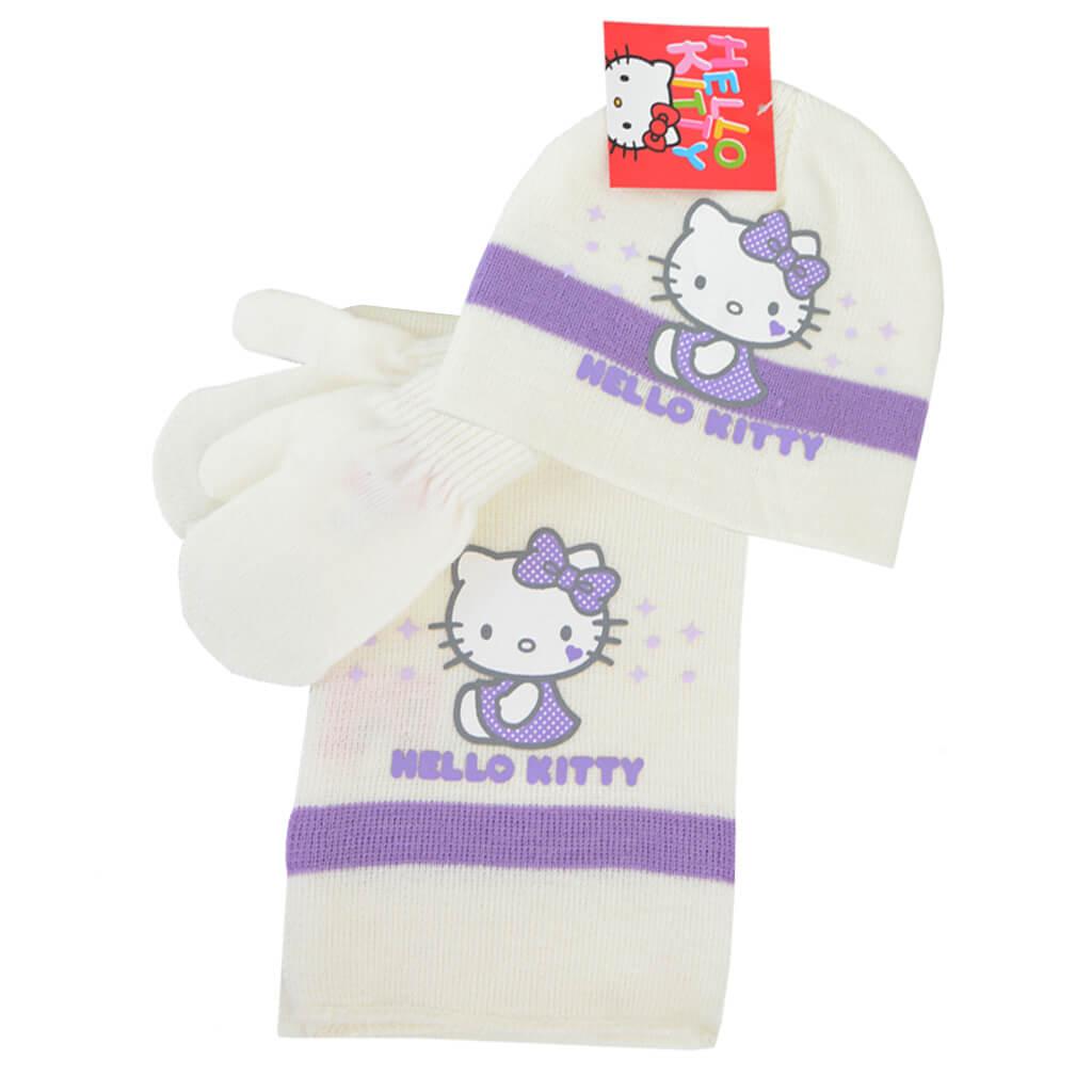 Комплект шапка, шал и ръкавици Hello Kitty в бяло