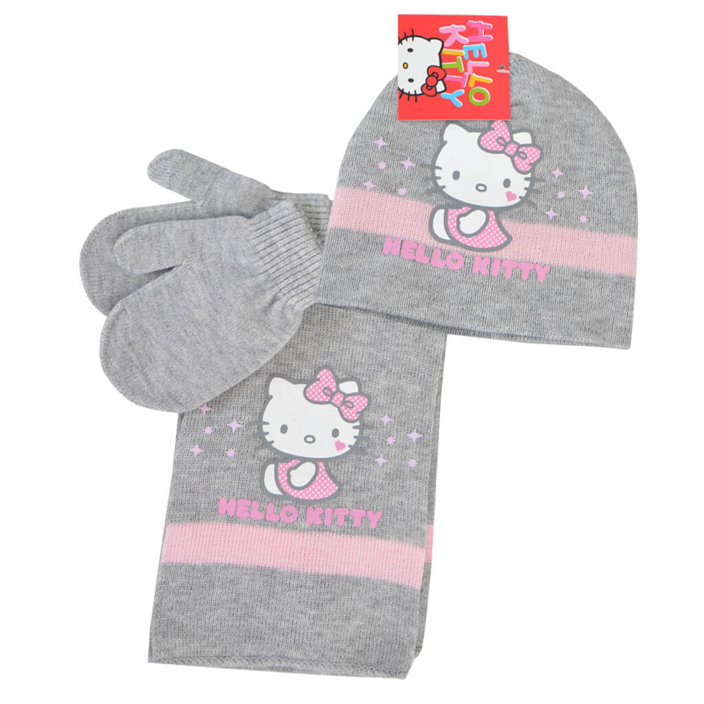 Комплект шапка, шал и ръкавици Hello Kitty в светло сиво