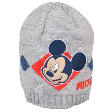 Детска зиман шапка с Мики Маус светло сива